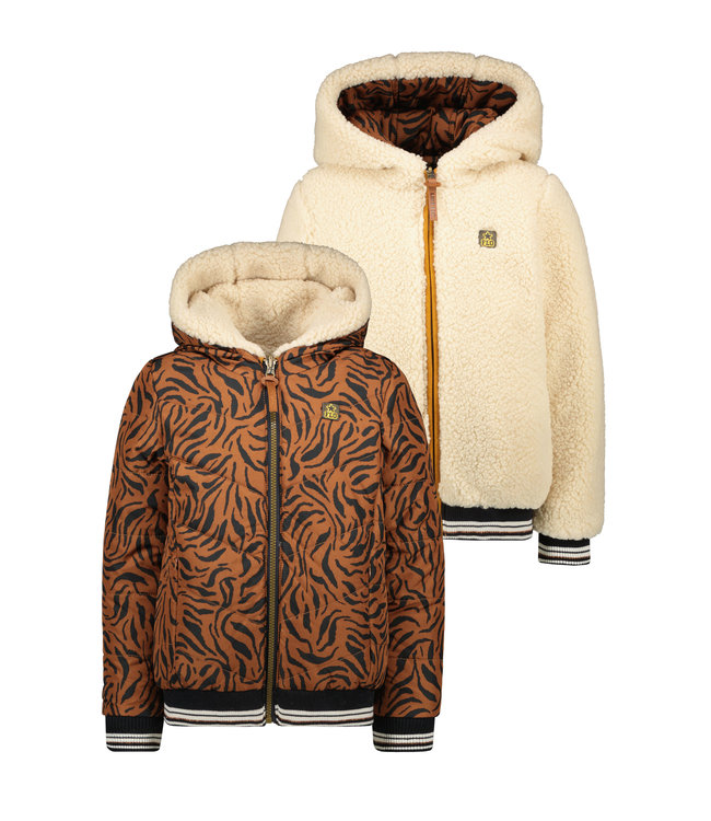 Like Flo Flo girls reversible hooded jacket cognac F107-5205 420