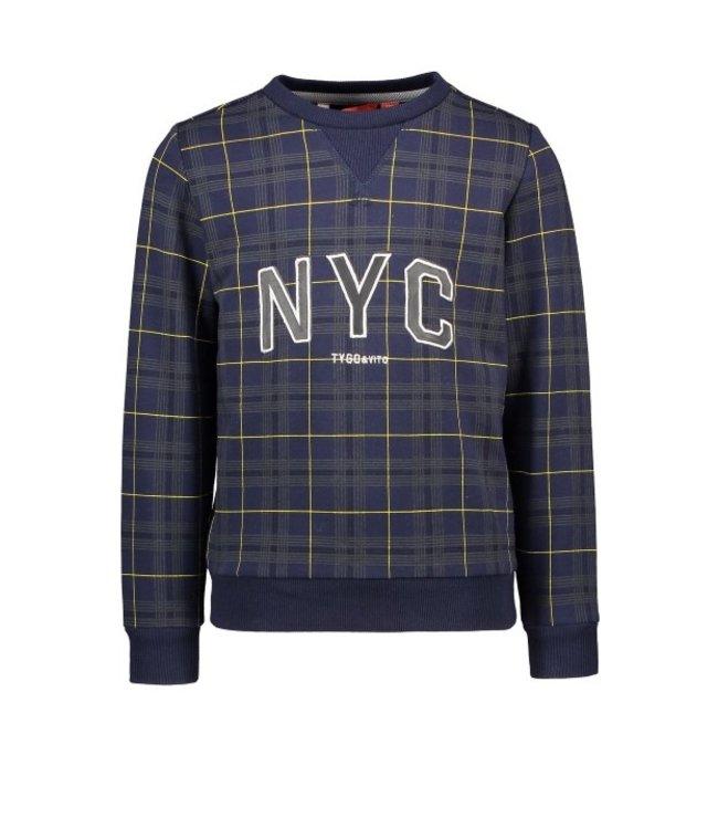 Tygo & Vito T&v sweater AOP check NYC Navy X108-6324 190