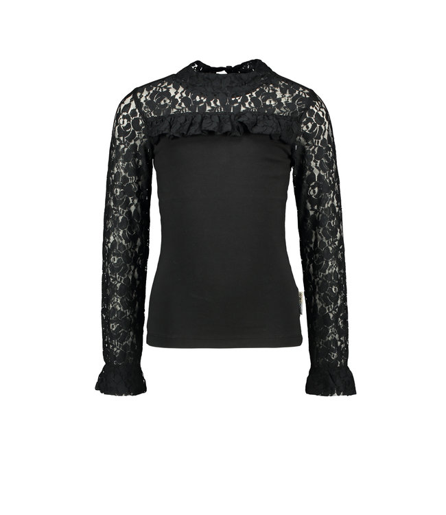 B.Nosy B-nosy Girls blouse with lace details and smocked sleeve-end Black Y108-5121 099