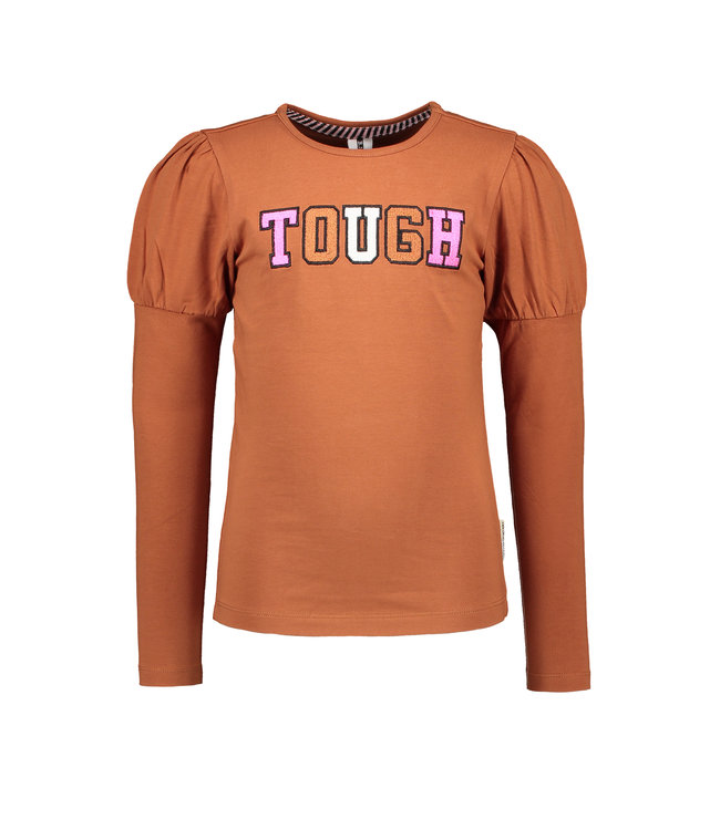B.Nosy B-nosy Girls t-shirt with puffed sleeves and thick embroidery Camel Y108-5442 575
