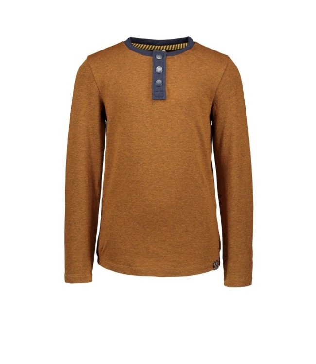 B.Nosy B-nosy Boys mustard melee ao t-shirt with button closure Mustard melee Y108-6411 522