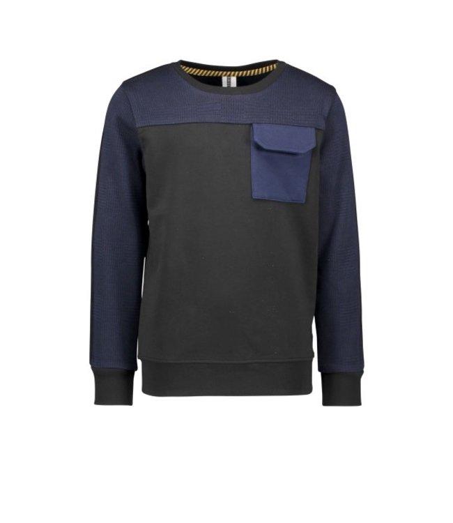 B.Nosy B-nosy Boys crewneck sweater with contrast check and pocket Black Y108-6323 099