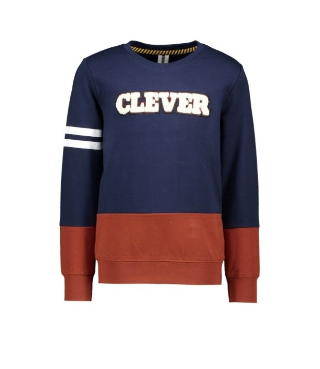 B.Nosy B-nosy Boys crewneck sweater with cut and sew and frotte artwork space blue Y108-6322 146