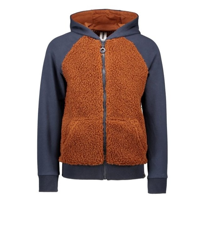 B.Nosy B-nosy Boys hooded raglan cardigan with teddy body Camel Y108-6311 575