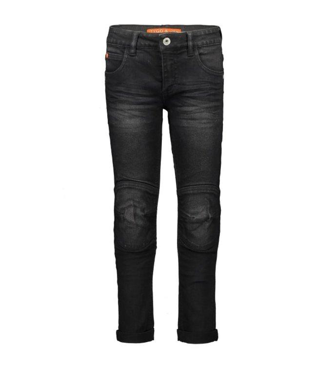 Tygo & Vito T&v fancy jeans double kneepatches skinny Black Denim X108-6624 808