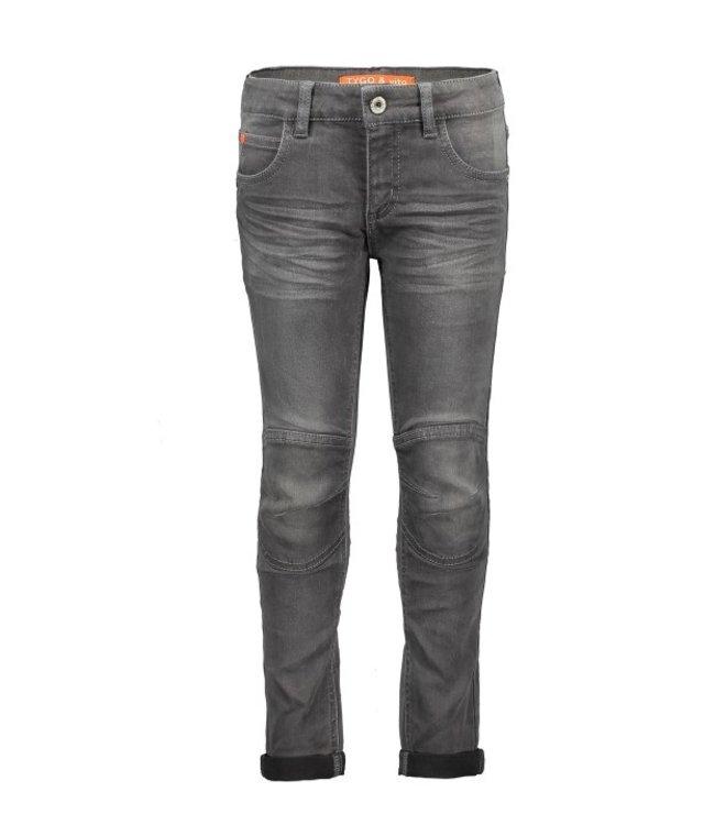 Tygo & Vito T&v fancy jeans double kneepatches skinny Mid Grey Denim X108-6624 807