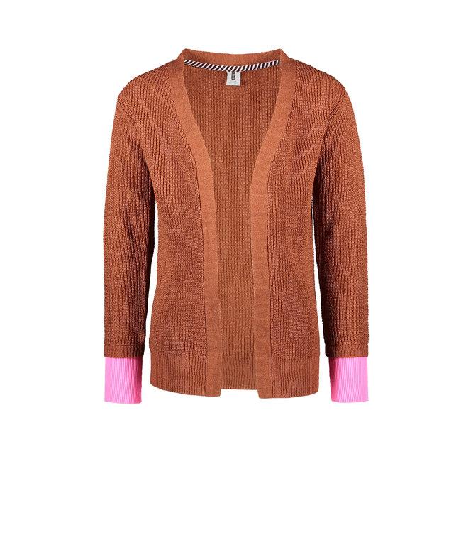 B.Nosy B-nosy Girls fine knitted cardigan with contrast rib cuff brique Y108-5322 223