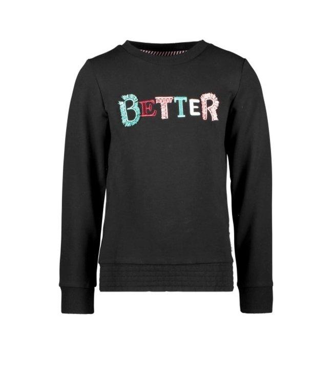 B.Nosy B-nosy Girls sweater with fancy artwork, full elasticated wb Black Y108-5331 099