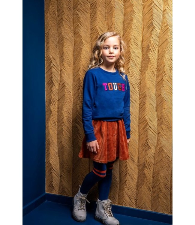 B.Nosy B-nosy Girls top wtih thick embroidery and smocked hem lake blue Y108-5341 159