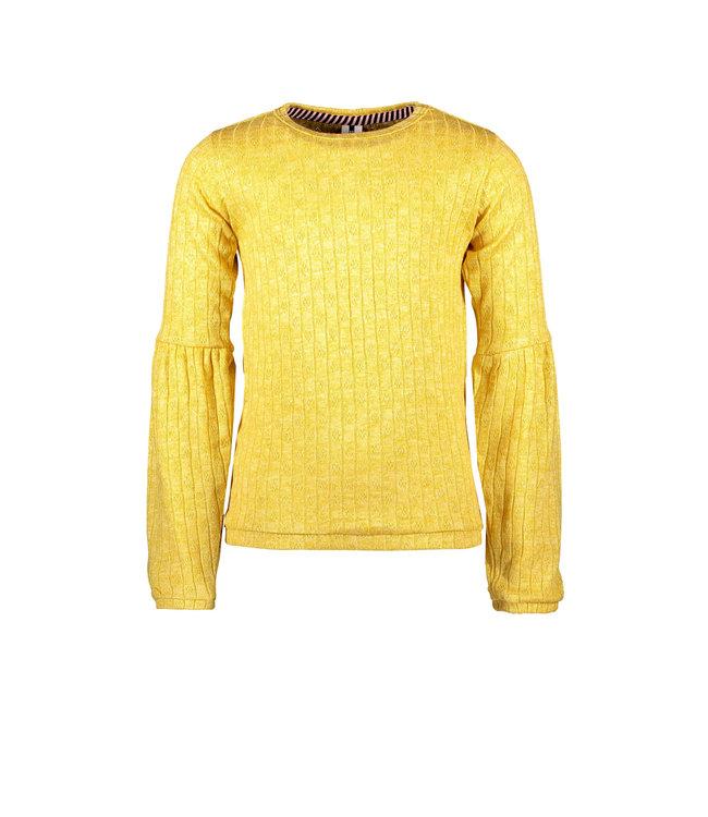 B.Nosy B-nosy Girls shiny top with puffed sleeve and elasticated hem corn yellow Y108-5412 521
