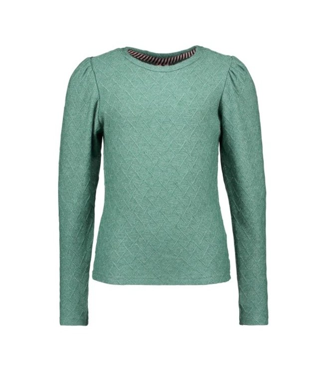 B.Nosy B-nosy Gilrs knitted shirt with small stripe details cellery green Y108-5433 323