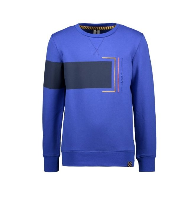B.Nosy B-nosy Boys sweater with contrast fabric on chest and sleeves Cobalt blue Y108-6312 183