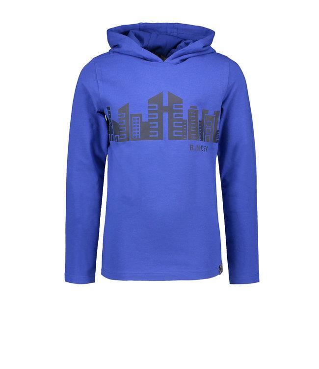 B.Nosy B-nosy Boys hooded t-shirt wit chestprint Cobalt blue Y108-6410 183