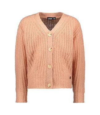 Like Flo Flo girls rib knit cardigan horn button powder pink F108-5300 222
