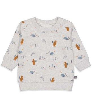 Feetje Feetje Sweater AOP - Griddly Bear Grijs melange 51601768