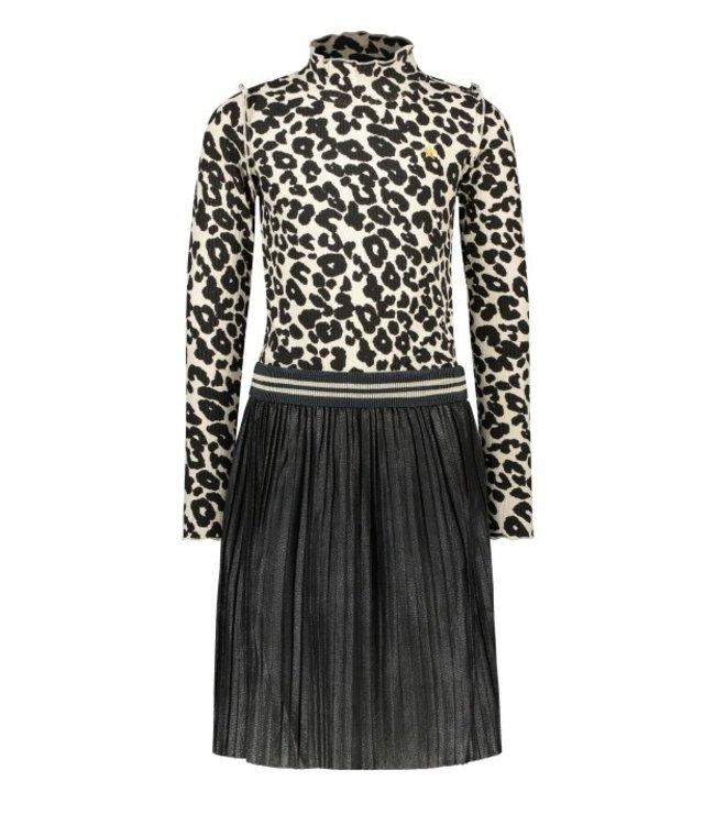 Like Flo Flo girls animal rib dress with short plisse skirt animal