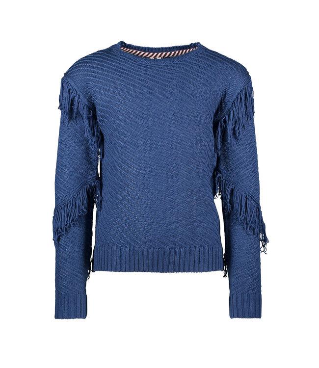 B.Nosy B-nosy Girls heavy knitted cardigan with fringes lake blue Y108-5346 159