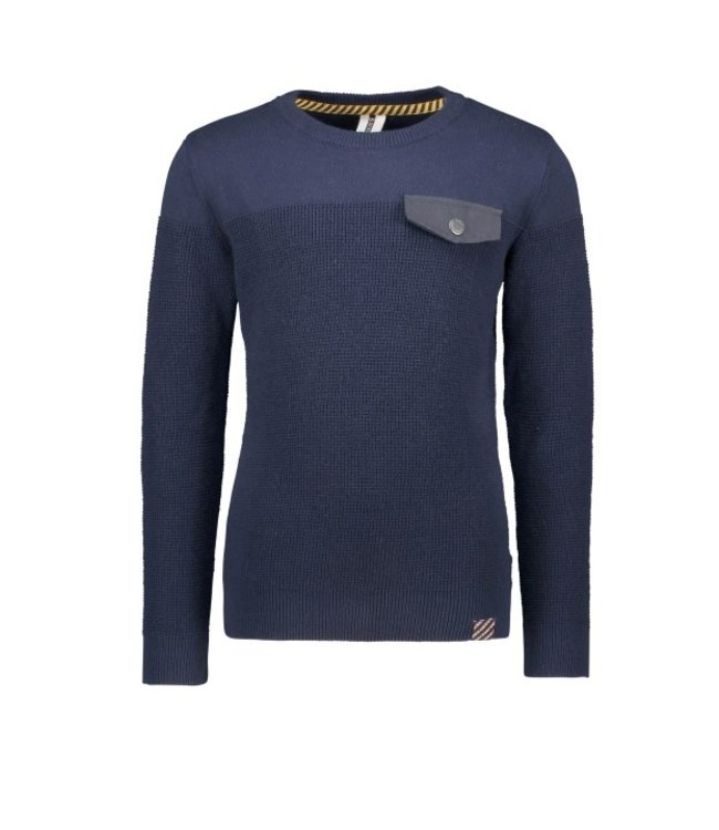 B.Nosy B-nosy Boys knitted sweater with pocket flap space blue Y108-6325 146
