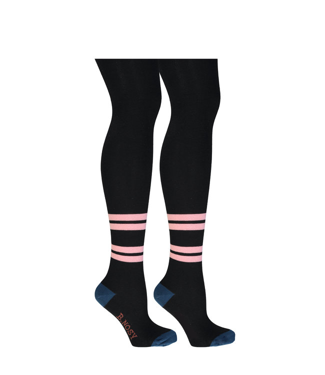 B.Nosy B-nosy Girls B. Marble tight with 2 horizontal stripes Black Y109-5971 099
