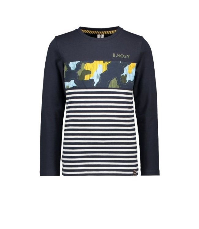 B.Nosy B-nosy Boys t-shirt with undercover camo ao cut and sew underc. white&blue stripe Y109-6433 060