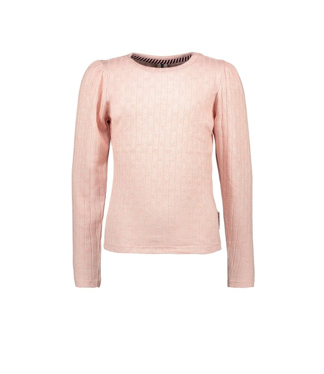 B.Nosy B-nosy Gilrs knitted shirt with small stripe details punch pink Y109-5452 228