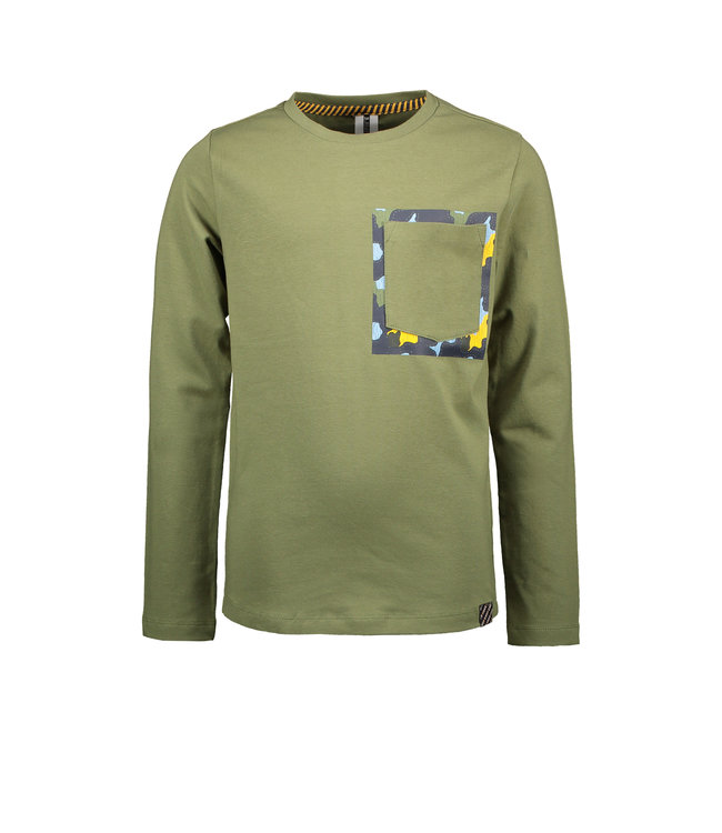 B.Nosy B-nosy Boys t-shirt with print behind patched pocket warrior green Y109-6431 369