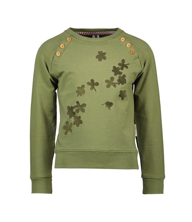 B.Nosy B-nosy Girls raglan sweater with flock print artwork warrior green Y109-5351 369
