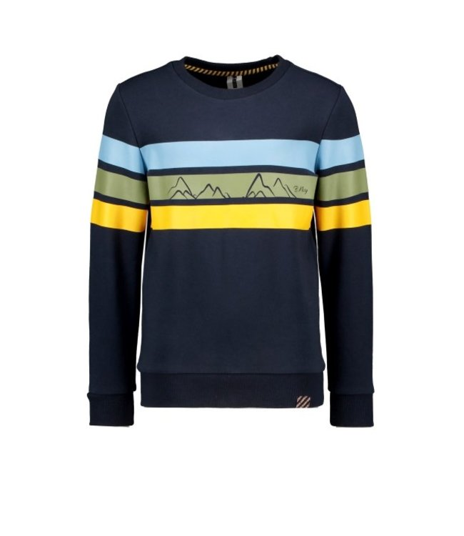 B.Nosy B-nosy Boys crewnecksweater with vertical printed stripes ink blue Y109-6334 109