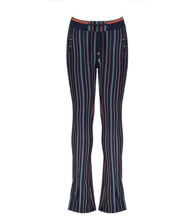 NoNo Nono Sahara striped punta flared pants navy