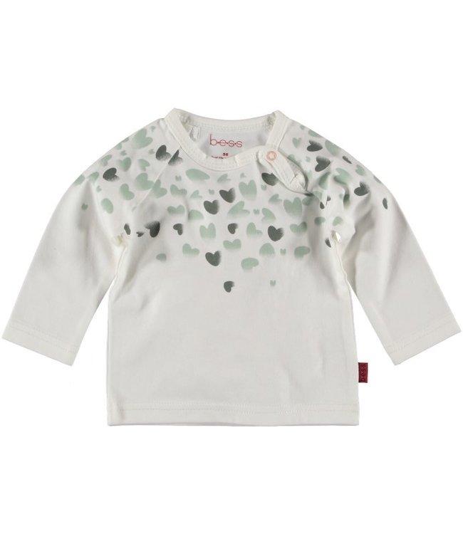 Bess Bess Shirt l.sl. Green Hearts Off White 21270-034