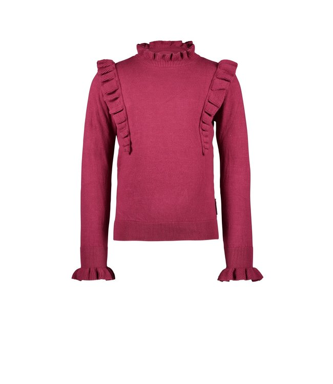 B.Nosy B-nosy Girls sweater with embroidery on chest, elasticated cuff maroon red Y109-5302 264