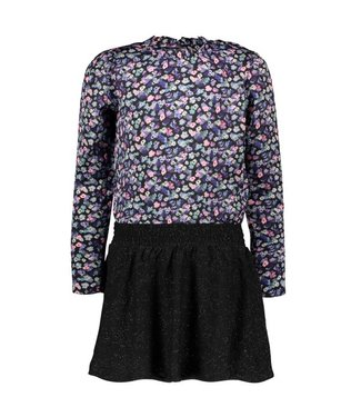 B.Nosy B-nosy Girls dress with outside floral ao woven top and knitted skirt outside floral AO Y109-5893 083