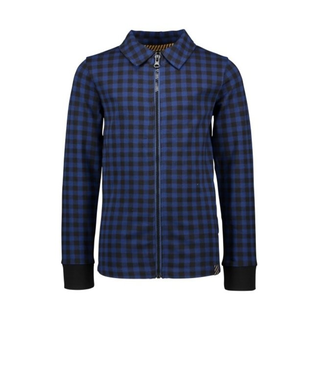 B.Nosy B-nosy Boys check blouse with zipper closure lake blue Y109-6101 159