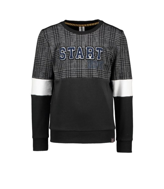 B.Nosy B-nosy Boys sweater with check cut and sew part Black Y109-6343 099