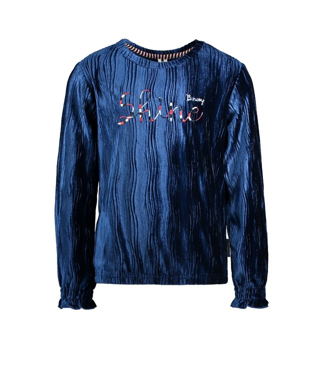 B.Nosy B-nosy Girls sweater with embroidery on chest, elasticated cuff lake blue Y109-5301 159