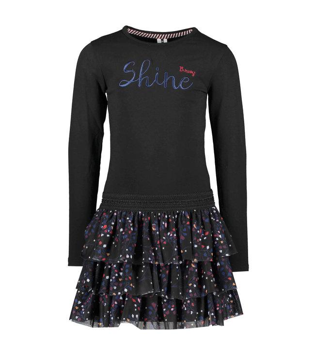 B.Nosy B-nosy Girls dress with printed layer netting Black Y109-5800 099