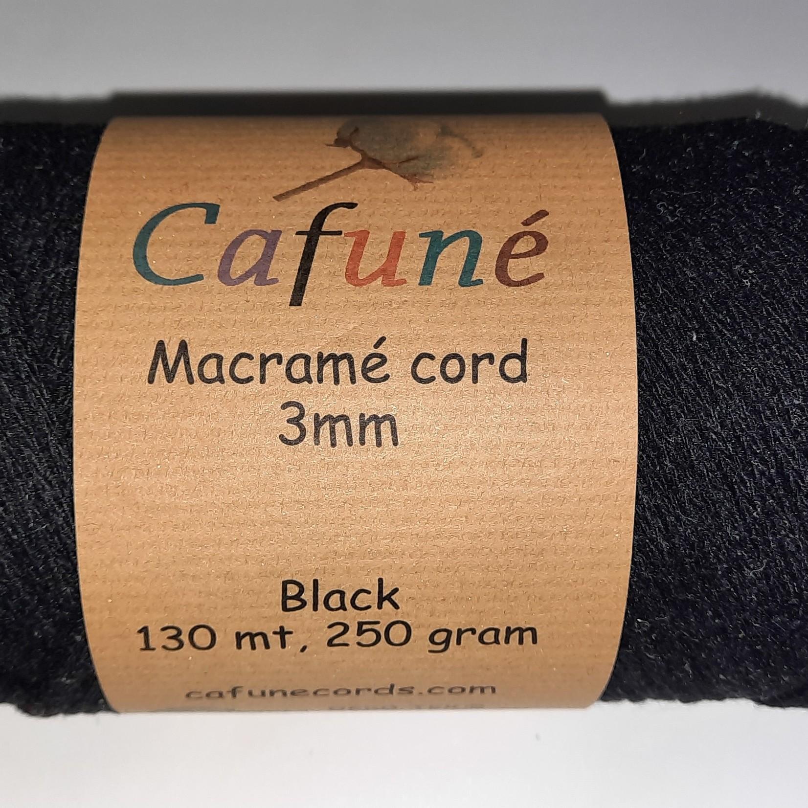 3mm macrame koord Zwart - gevlochten - gerecycled katoen