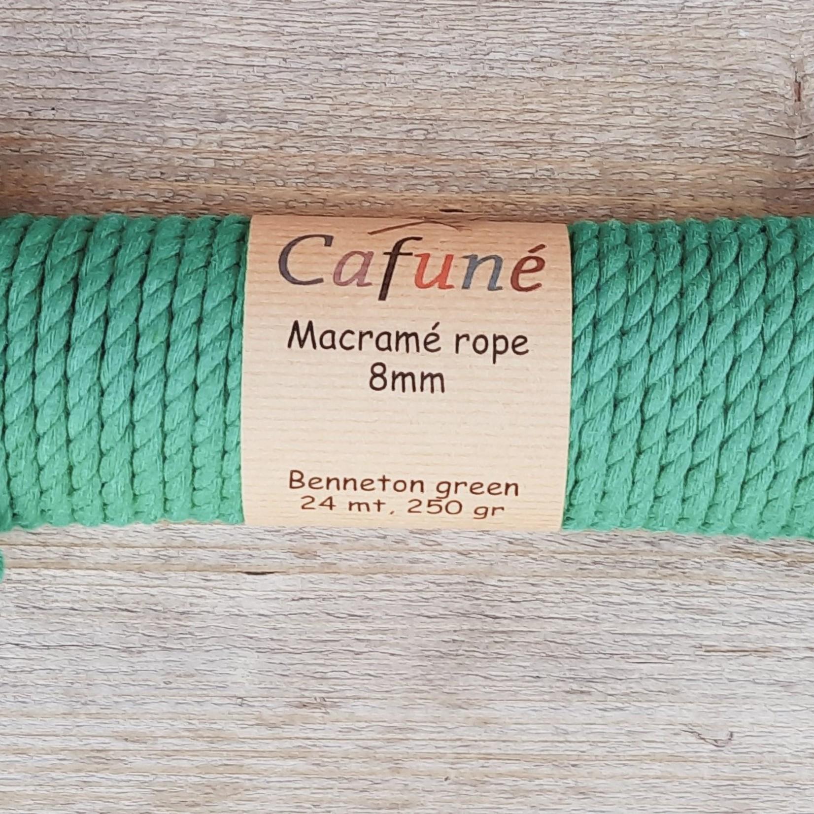 8mm Macrame touw Bennetongroen, double twisted