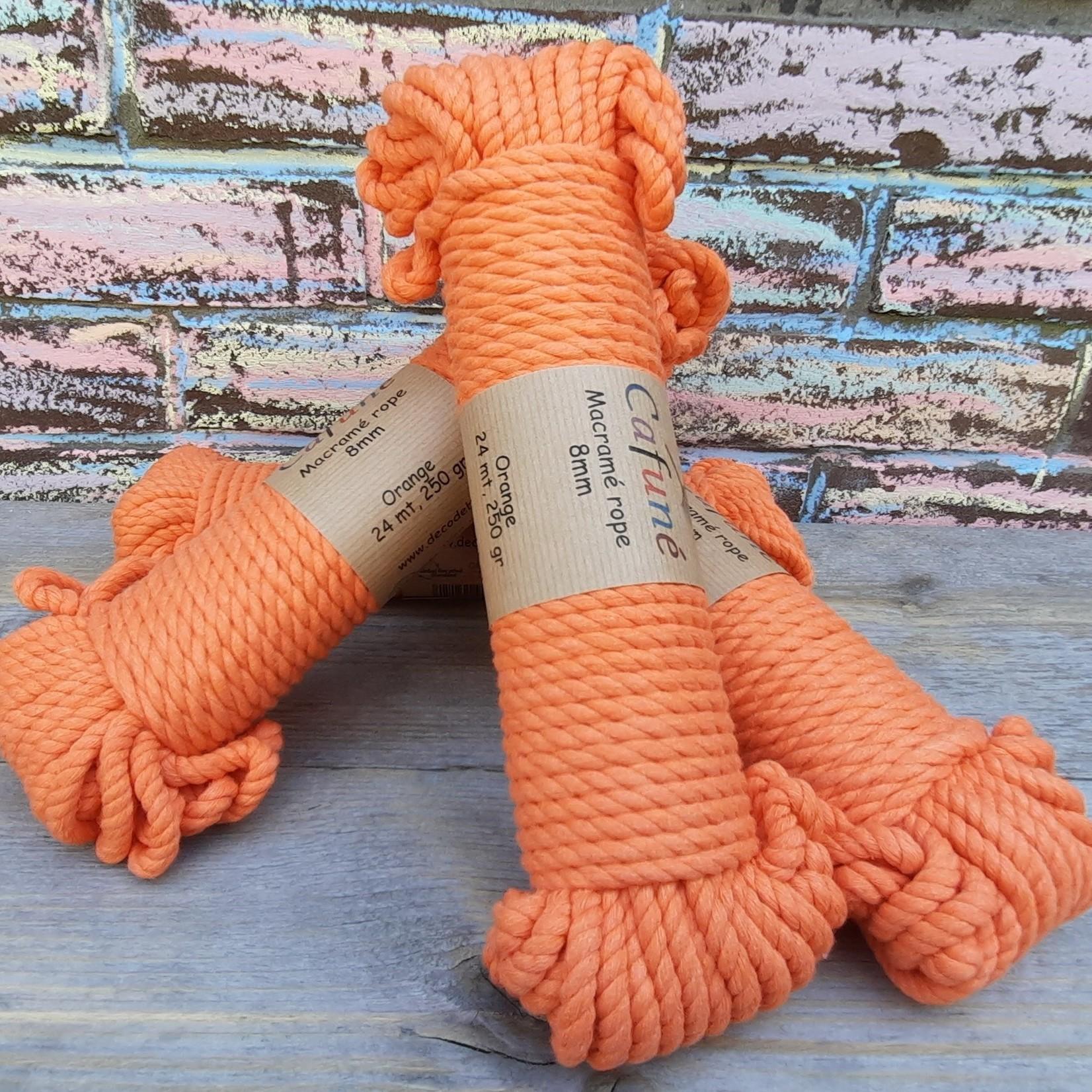 8mm Macrame touw Oranje double twisted