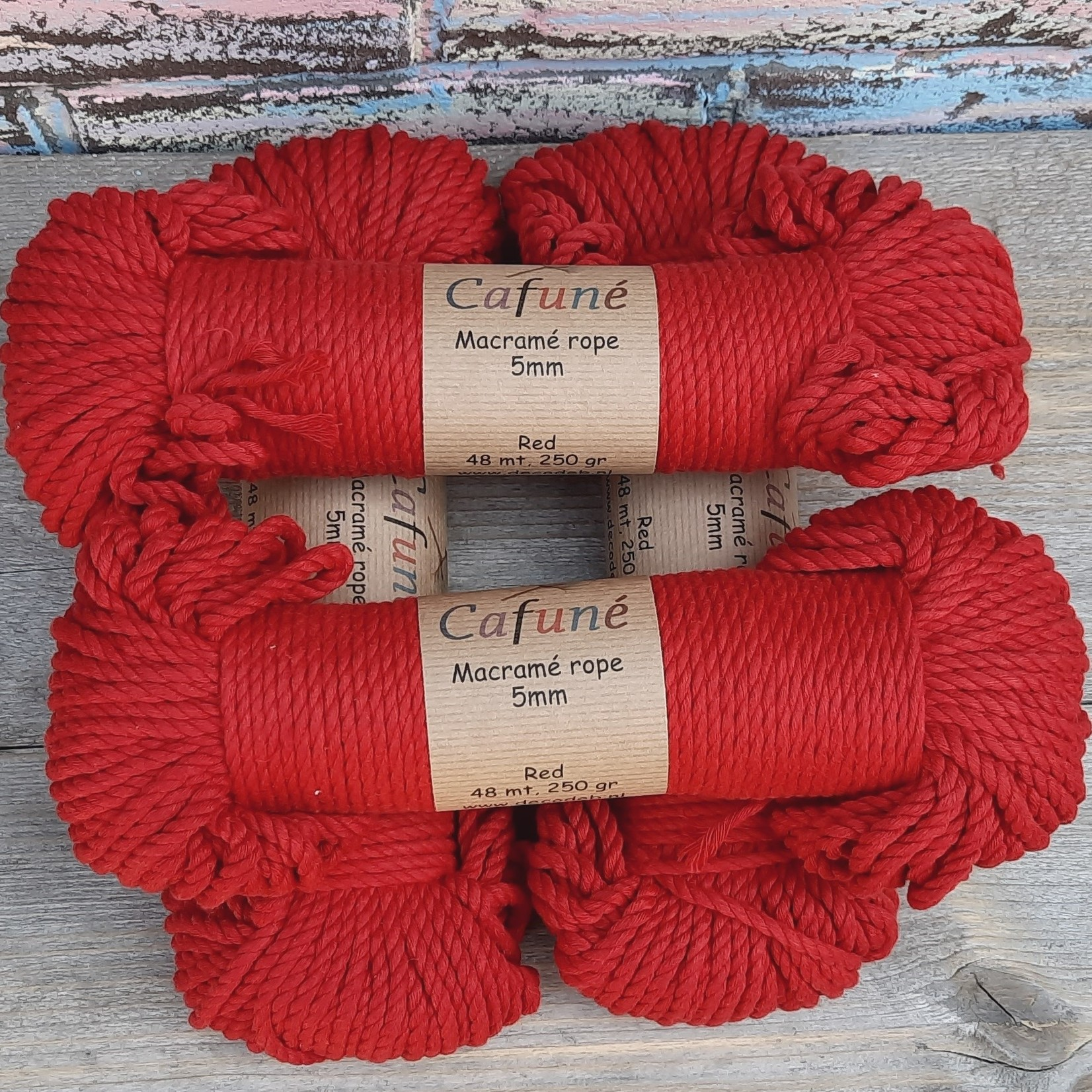 5mm Macrame touw Rood, double twisted