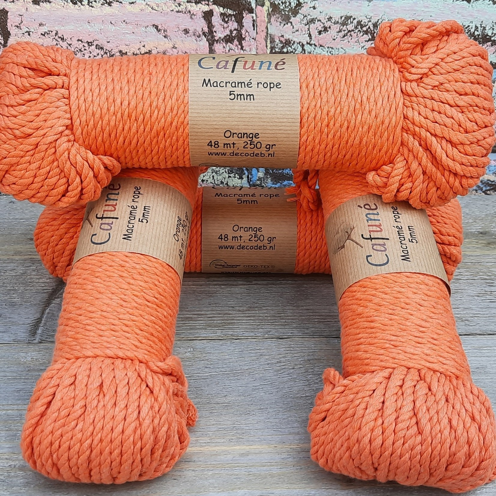 5mm Macrame touw Oranje, double twisted, uitkambaar