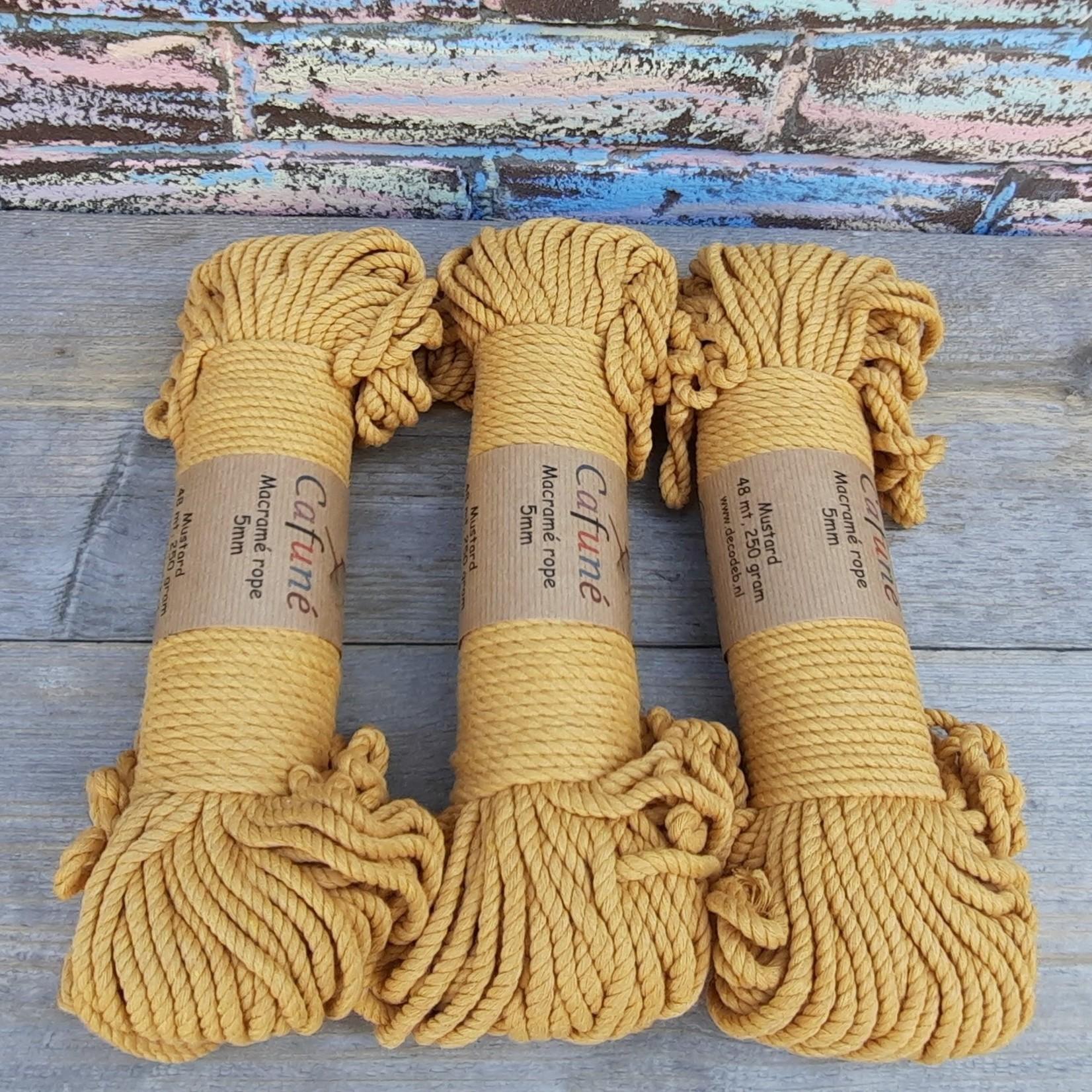 5mm Macrame touw Mosterd/Oker, double twisted, uitkambaar