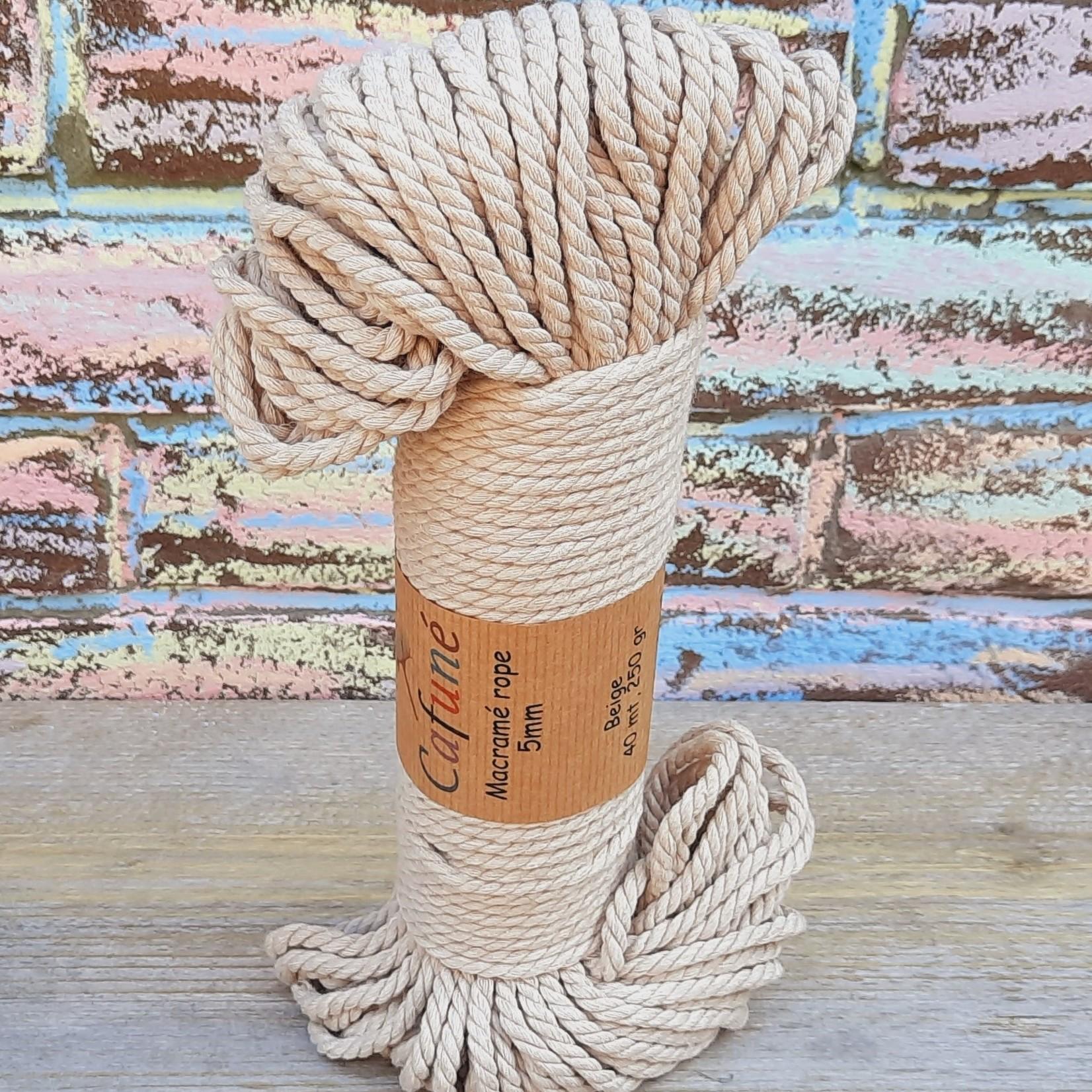 5mm Macrame touw Beige, double twisted, uitkambaar