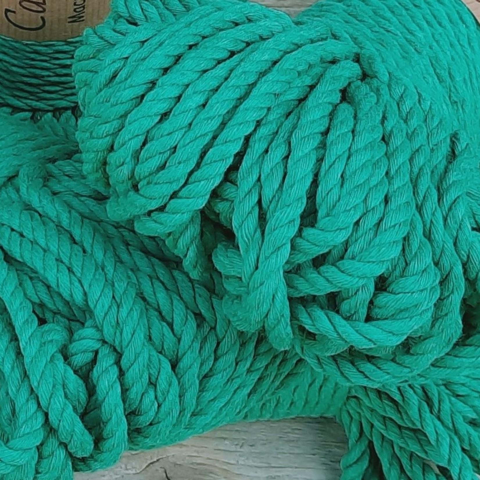 5mm Macrame touw Bennetongroen, double twisted, uitkambaar