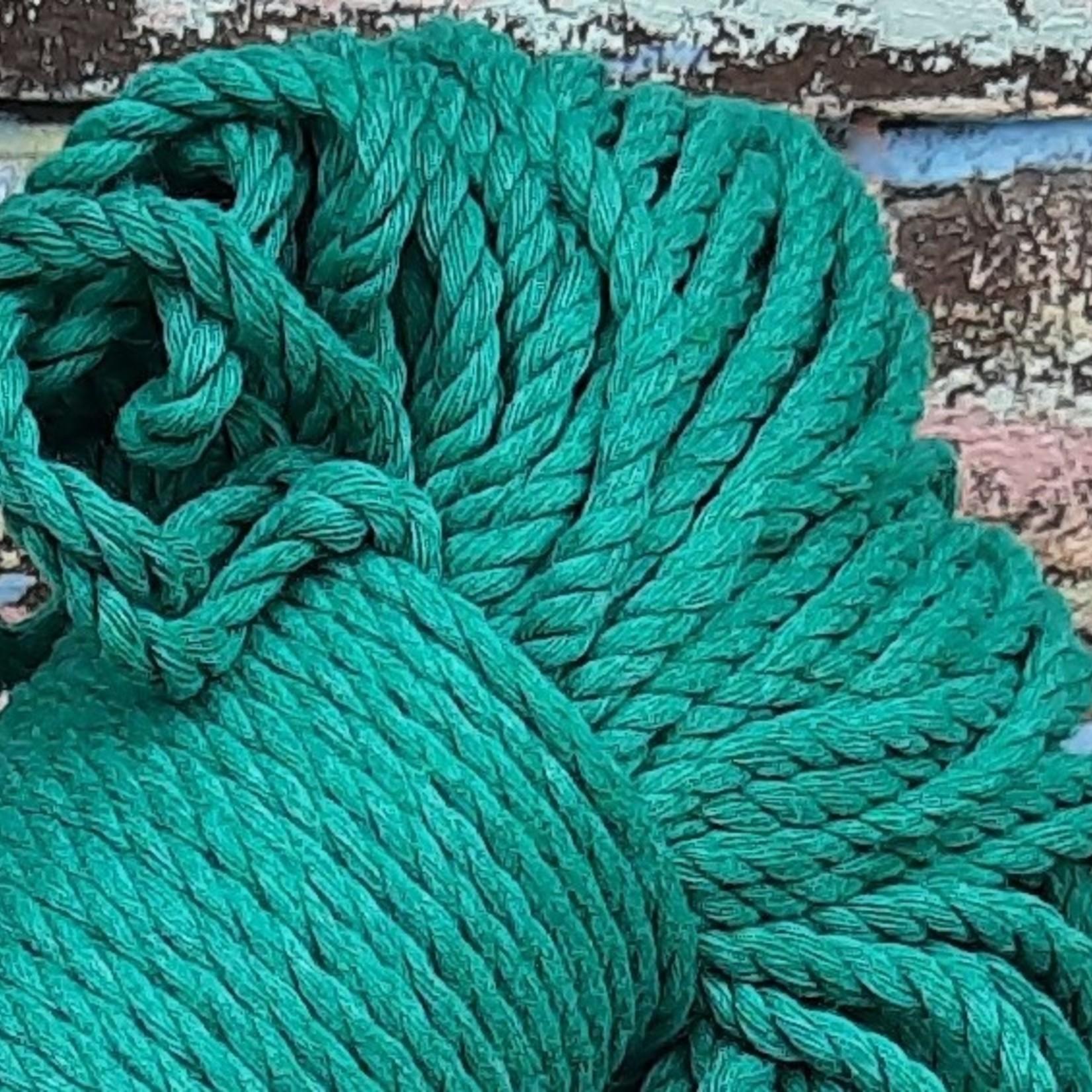 3mm Macrame touw Bennetongroen, double twisted, uitkambaar
