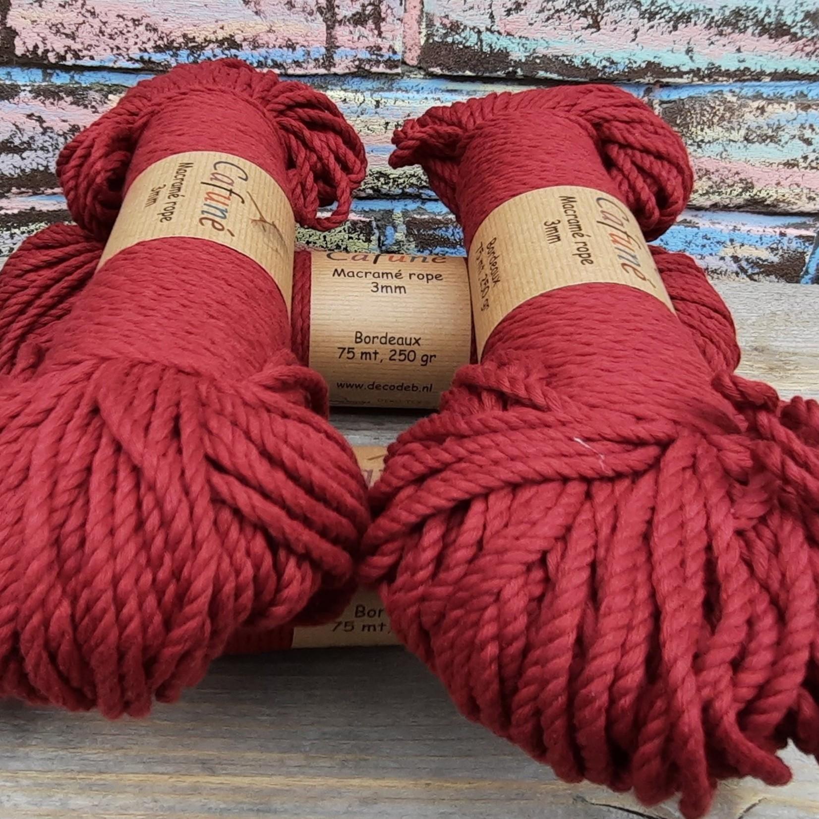 3mm Macrame touw Bordeaux, double twisted, uitkambaar