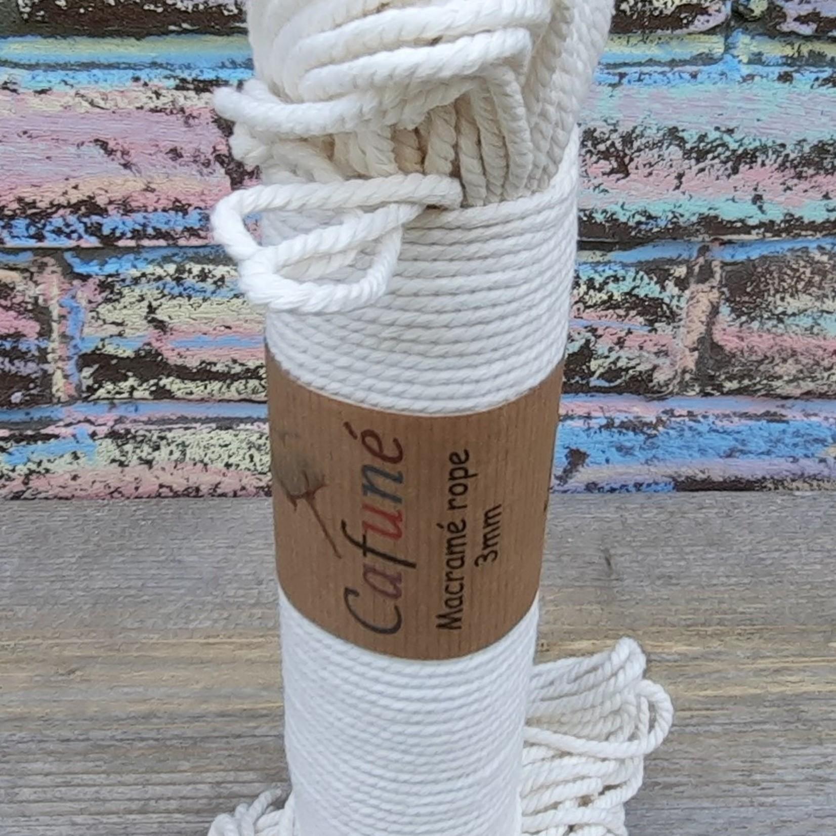 3mm Macrame touw Ecru, double twisted, uitkambaar