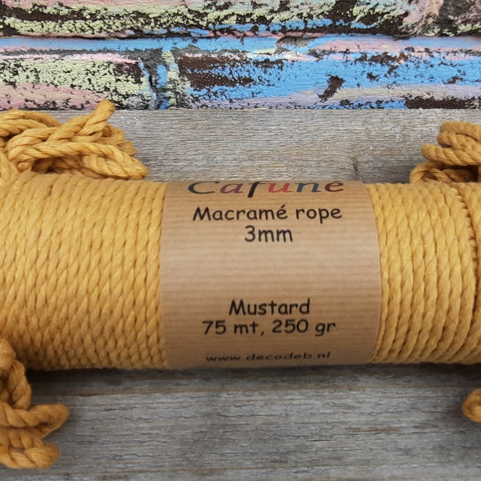 3mm Macrame touw Mosterd, double twisted, uitkambaar