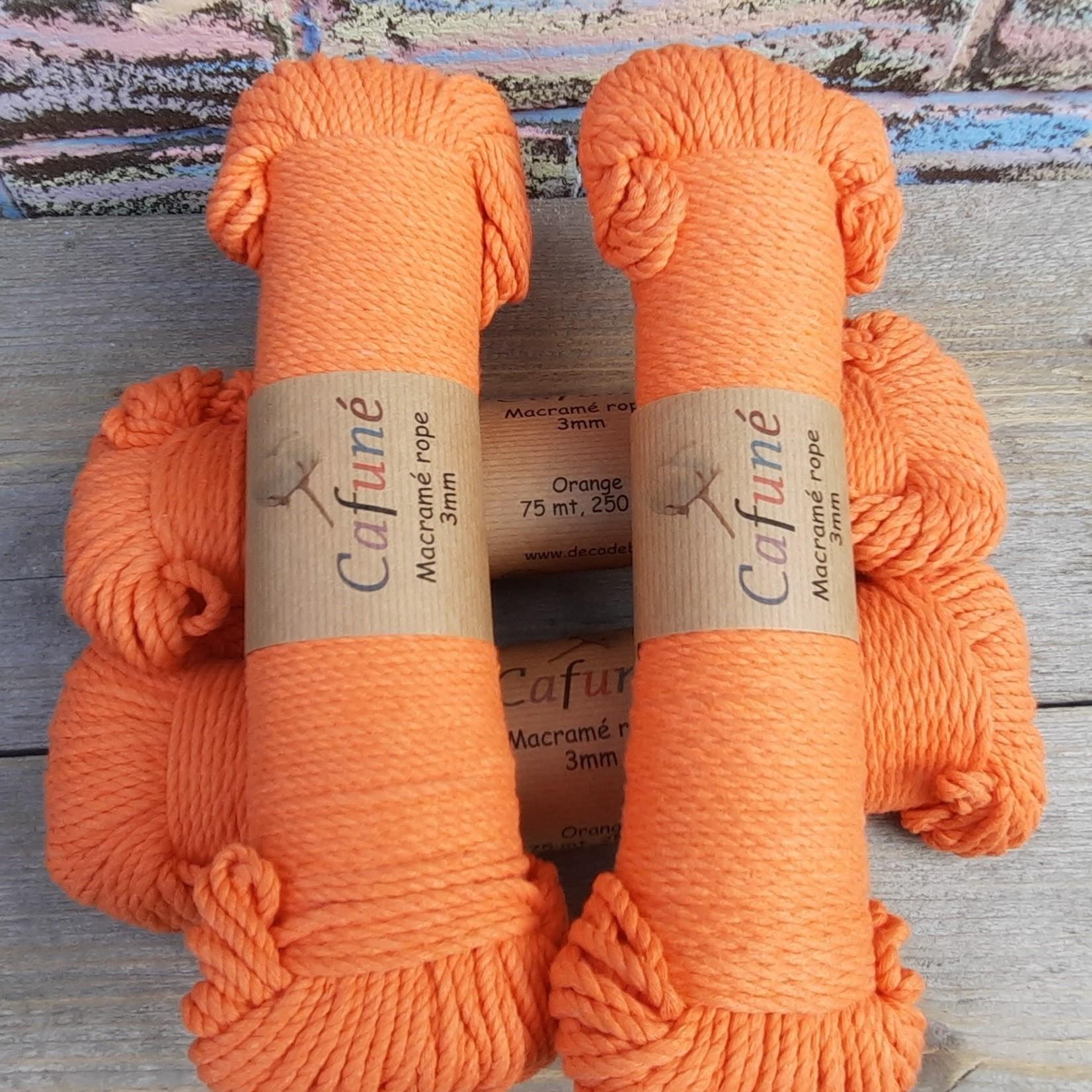 3mm Macrame touw Oranje, double twisted, uitkambaar