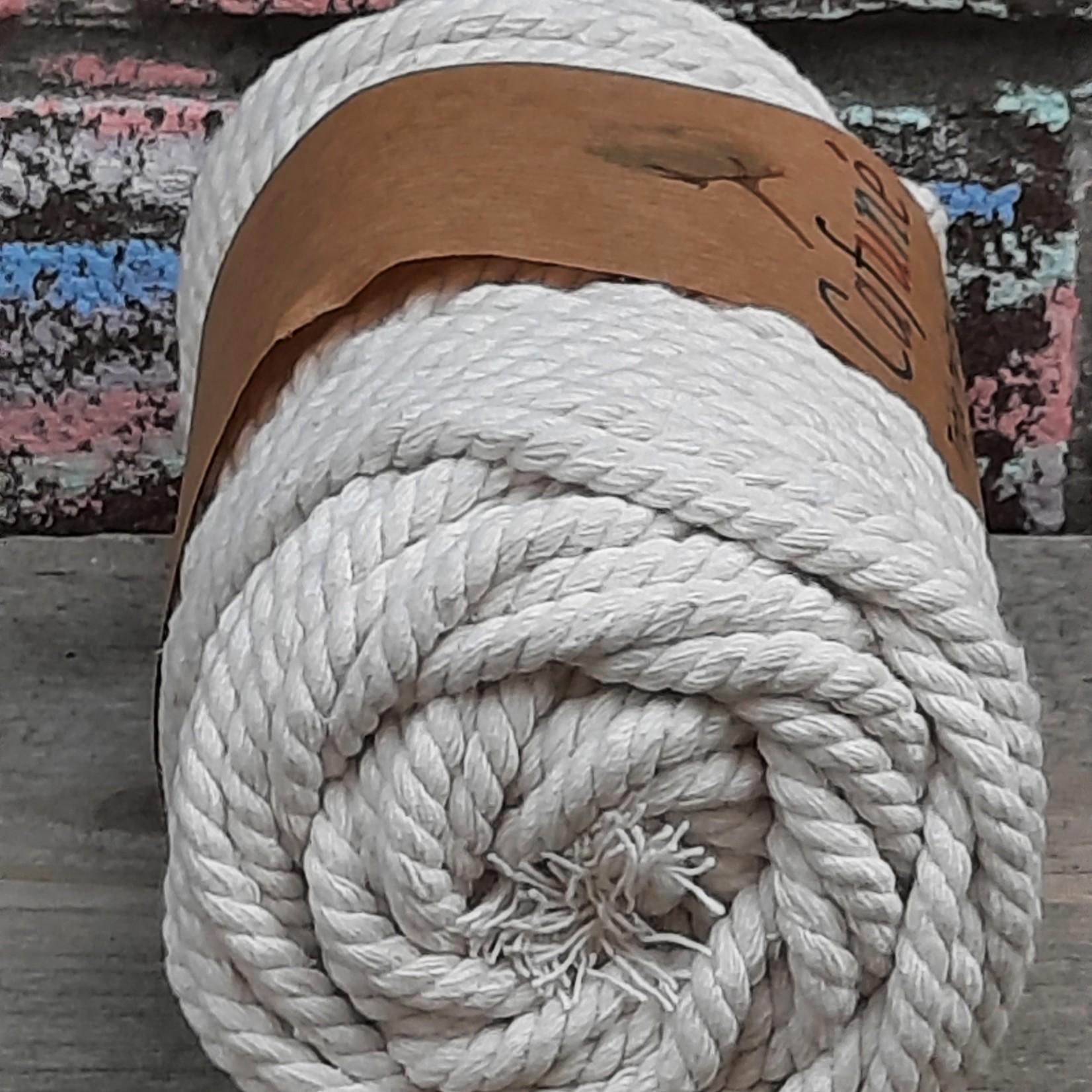 5mm Macrame touw Ecru, Triple twisted uitkambaar
